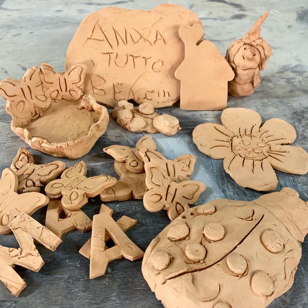 alcuni lavori fatti con l'argilla in quarantena